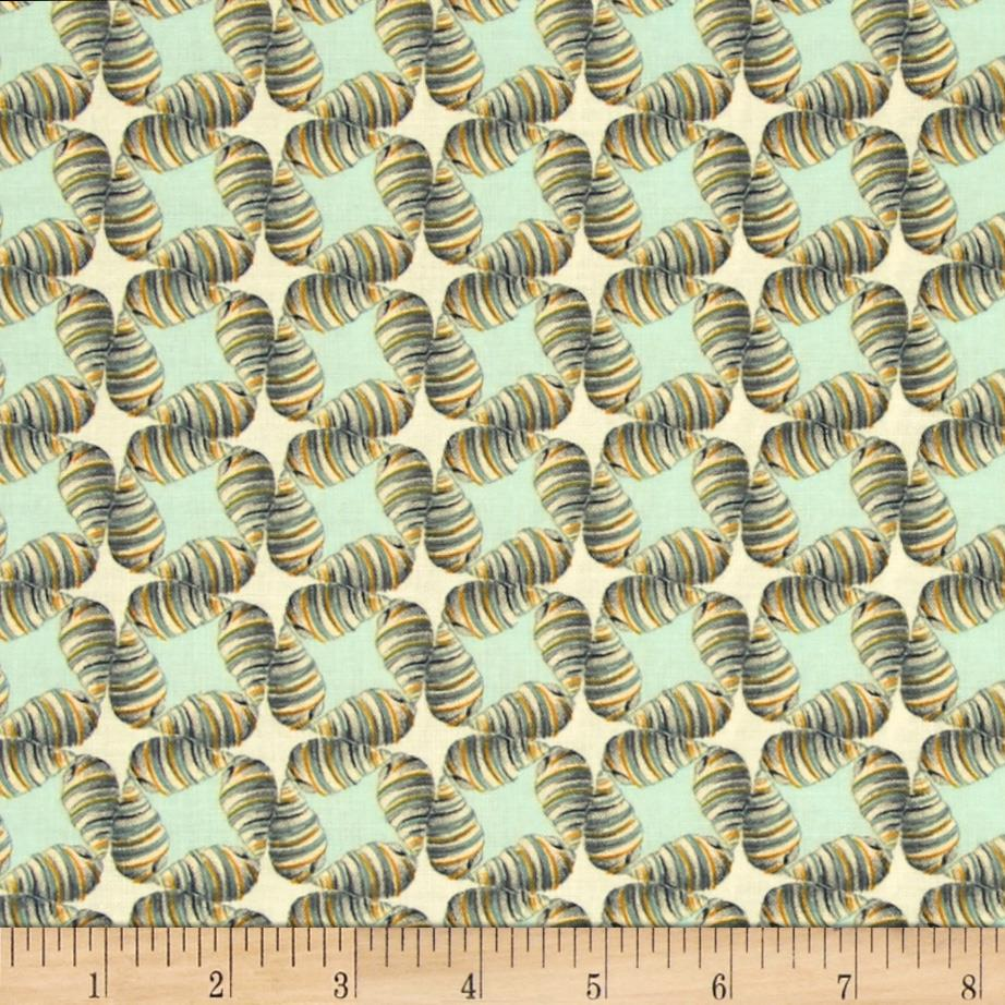 látka beach treasures-shell-sky 100%bavlna/110cm šíře/rowan