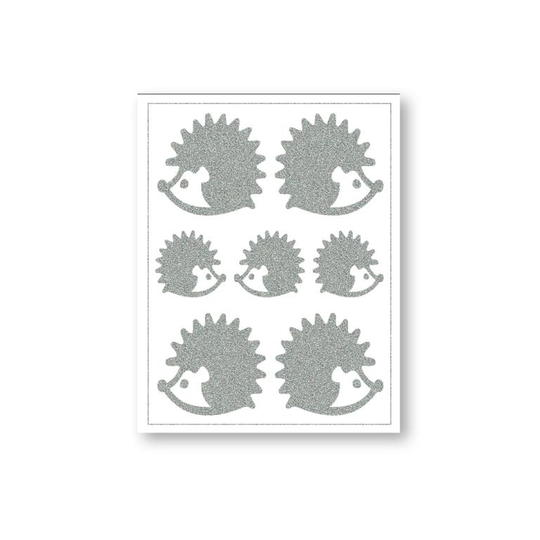 reflexní nažehlovačky 7ks ježci na archu 12x9cm
