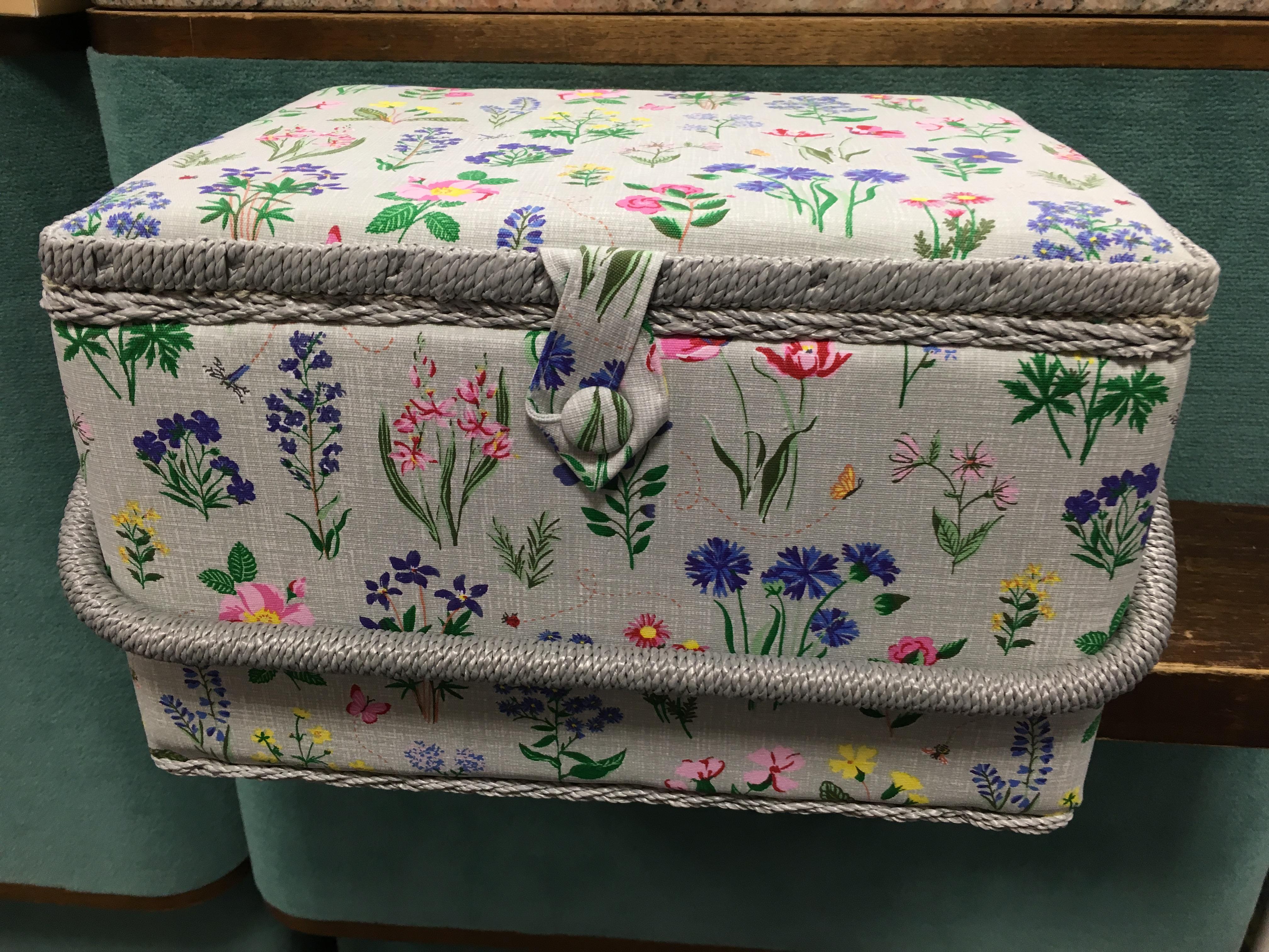 košík na šicí potřeby jarní zahrada L