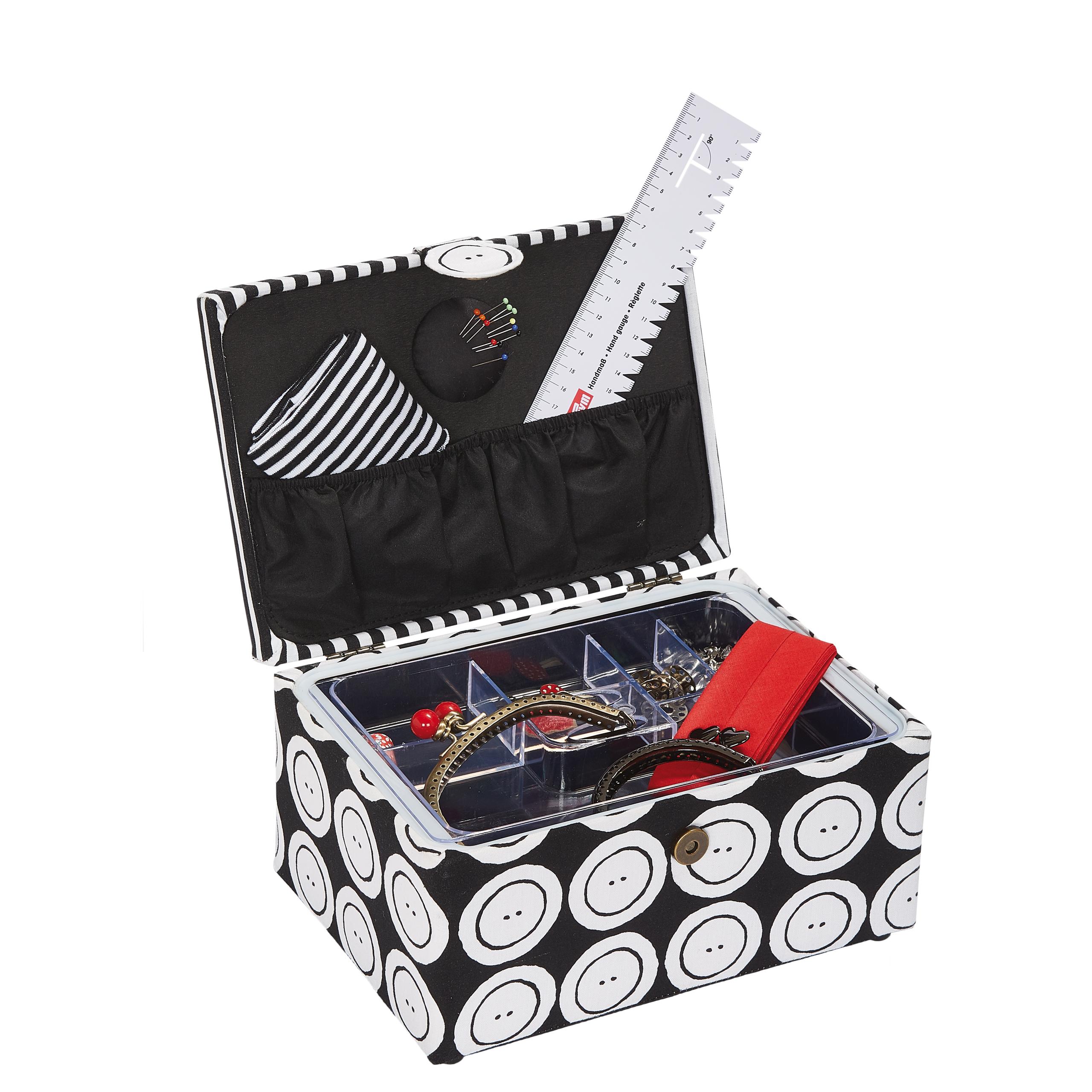 kazeta - košík na šicí potřeby M buttons stripes-2