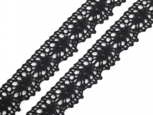 krajka paličkovaná 100%bavlna 22mm černá