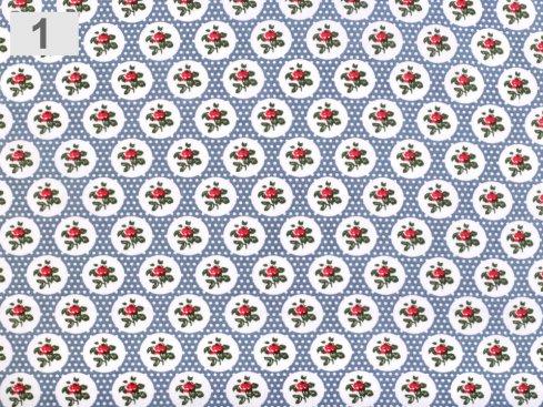 látka růže s puntíky 100%bavlna,šíře 140cm,110g/m2