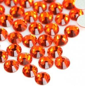4mm nalepovací kameny broušené hyacinth = tmavě oranžová
