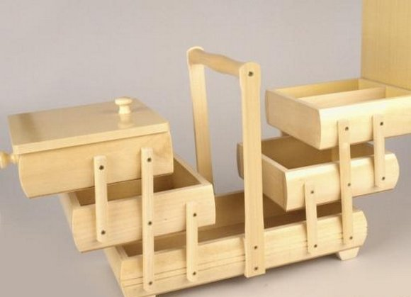 košík na šicí potřeby rozkládací střední medový-