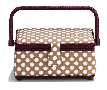 košík - kazeta na šicí potřeby Polka Dots beige/burgund S