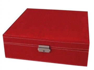 šperkovnice 2patrová 8,5x26x26cm červená