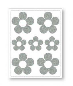 reflexní nažehlovačky 7ks květiny na archu 12x9cm