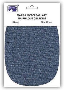 záplata nažehlovací riflová 18x13cm oválné 2ks střední modrá