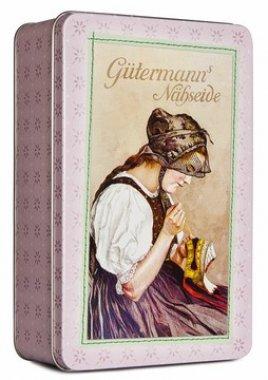 dóza plechová růžová Gütermann 12,5x19,5x6cm