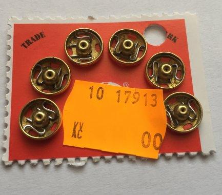 patentky Kin vel.2 6ks/karta 10mm mosaz=zlaté