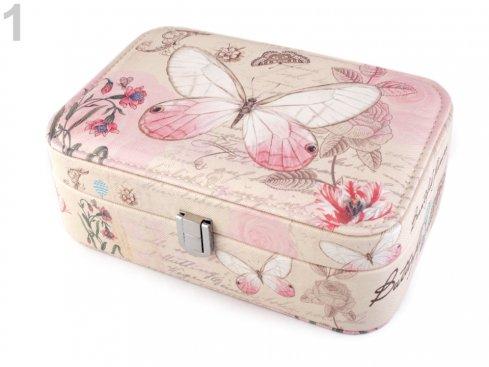 šperkovnice motýl růžový 7x14x22cm