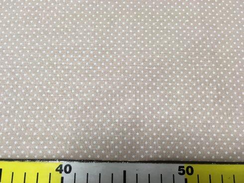 látka 145cm šíře/100%bavlna béžová bílý puntík