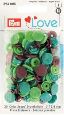 plastové druky PRYM MIX sv.zelená/tm.zelená/hnědá