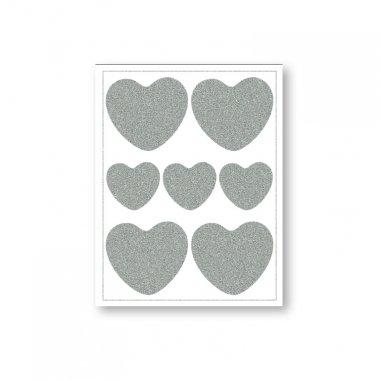 reflexní nažehlovačky 7ks srdce na archu 12x9cm