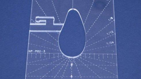Quiltovací pravítko tvar pero 3 inch NP-P02-3