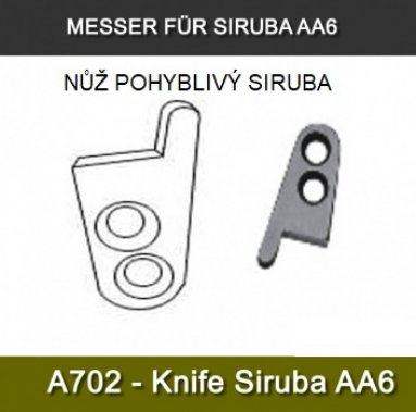 nůž ořezu nití pohyblivý - pro pytlovací stroje Fischbein/Siruba