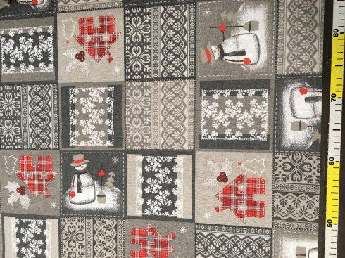 látka dekorační š.140/55%Ba.45%PES, 190g/m2 vánoční