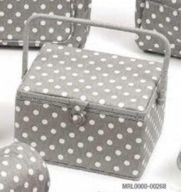 košík na šicí potřeby šedivý+puntíky