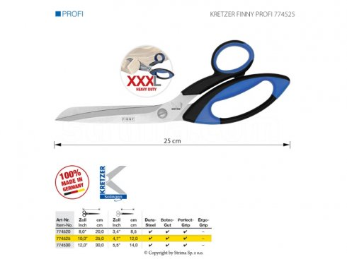 Nůžky pro přesné stříhání těžkých materiálů, délka 10