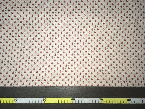 látka 100%bavlna červené květiny na režné 145cm šíře/140gm2