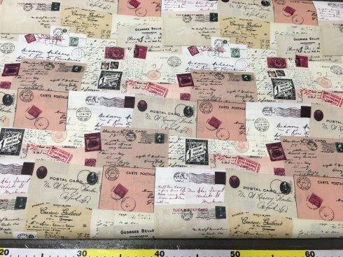látka 100%bavlna dopisy a známky 140cm šíře/115gm2