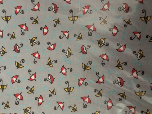 záplata nažehlovací se vzorem šedé deštníky 45x17cm