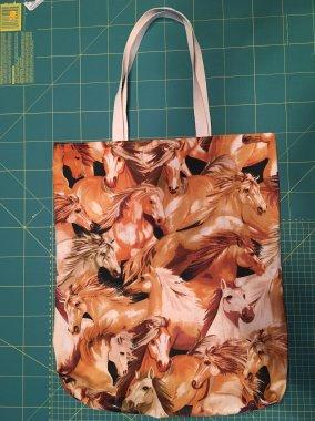 nákupní taška bavlna cca 39x45cm koně