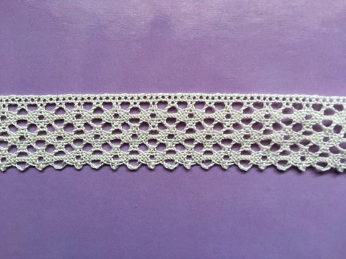 krajka 100% bavlna 25mm paličkovaná béžová