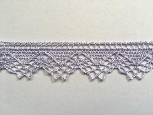 krajka 100% bavlna 32mm paličkovaná fialová