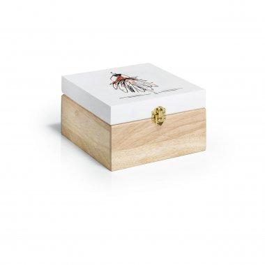 dřevěný box na šicí potřeby 18x18x10cm motiv figurina