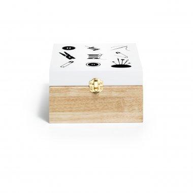 dřevěný box na šicí potřeby 18x18x10cm motiv šití