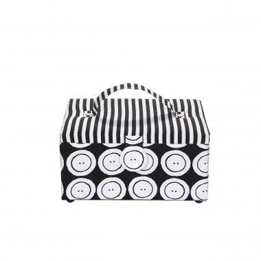 kazeta - košík na šicí potřeby M buttons stripes