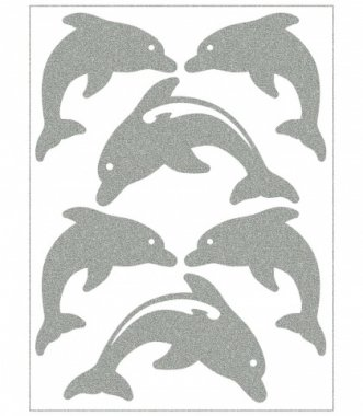 reflexní nažehlovačky 6ks delfíni na archu 12x9cm