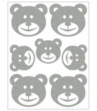 reflexní nažehlovačky 7ks medvědi na archu 12x9cm