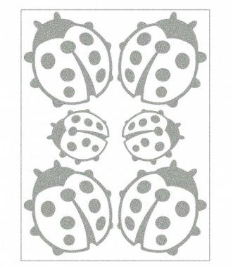 reflexní nažehlovačky 6ks berušky na archu 12x9cm