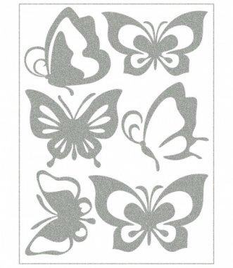 reflexní nažehlovačky 6ks motýlci na archu 12x9cm