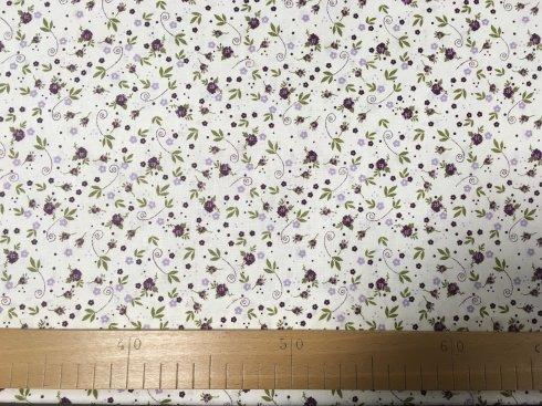 látka 140cm šíře/100%bavlna květiny na bílé