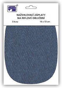 záplata nažehlovací riflová 18x13cm oválné 2ks sv.modrá