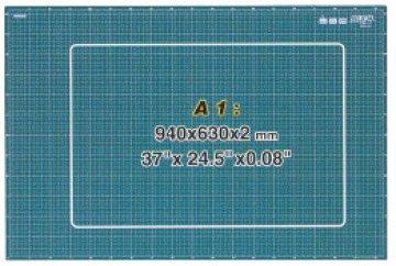 podložka na PATCHWORK CM-A1-RC. Zelená podložka 940 x 630 x 2 mm, oboustranný potisk - cm, palce, úhly.