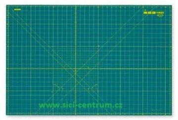podložka na PATCHWORK - Tmavě zelená podložka 320 x 225 x 2 mm, oboustranný potisk - cm, palce, úhly. CM-A4-RC - OLFA
