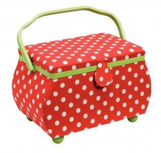 kazeta - košík na šicí potřeby Polka Dots L červená