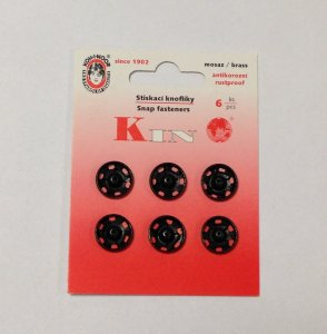 patentky našívací kin5 6ks/karta černé 13mm