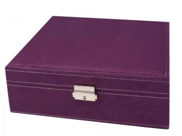 šperkovnice 2patrová 8,5x26x26cm fialová
