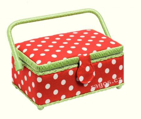 košík na šicí potřeby -červený puntík